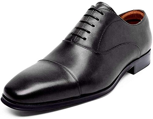 DESAI Leather Oxford Dress Shoes for Men Cap Toe Lace-up