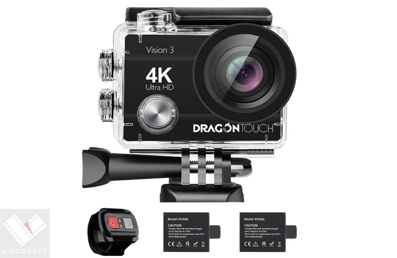 Dragon Touch 4K Action Camera 16MP Vision 3 Underwater Waterproof Camera - best video camera for kids