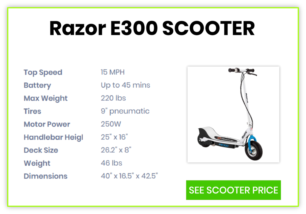 electric scooter e300 specification