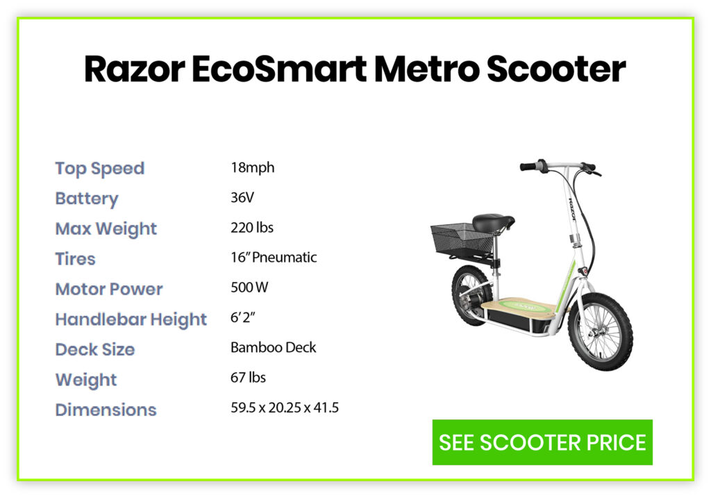 Razor EcoSmart Metro Electric Scooter Specification