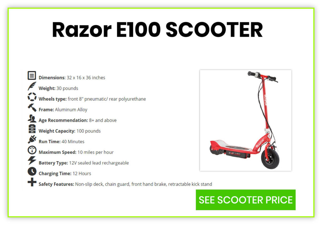 E100 Scooter Specification